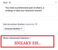 Go into the advanced options and add 200 more words of copy into your facebook advert