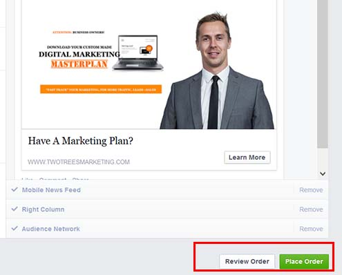 """Select """"Place Order"""" to start your facebook retargeting campaign"""