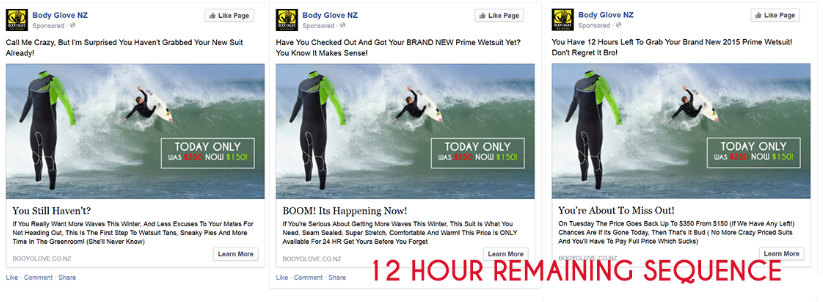 An example of a 12 hour behavioural retargeting sequence on facebook