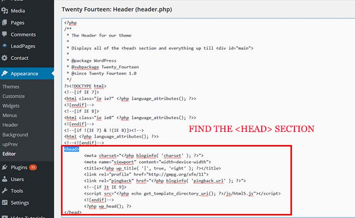 Find the HEAD section of your theme and ad your retargeting tracking pixel code