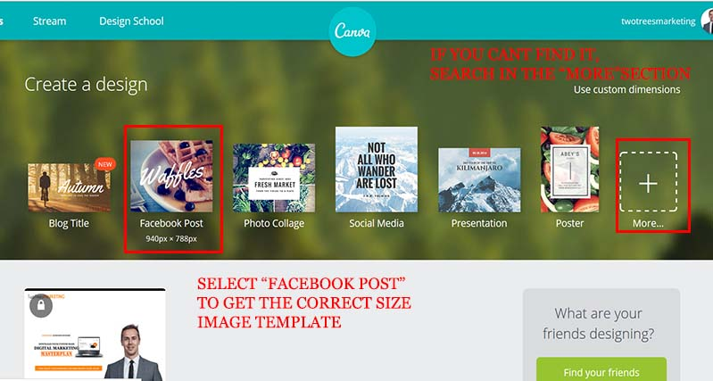 """Head to Canva and select """"Facebook Post"""" template to design your facebook retargeting ad"""
