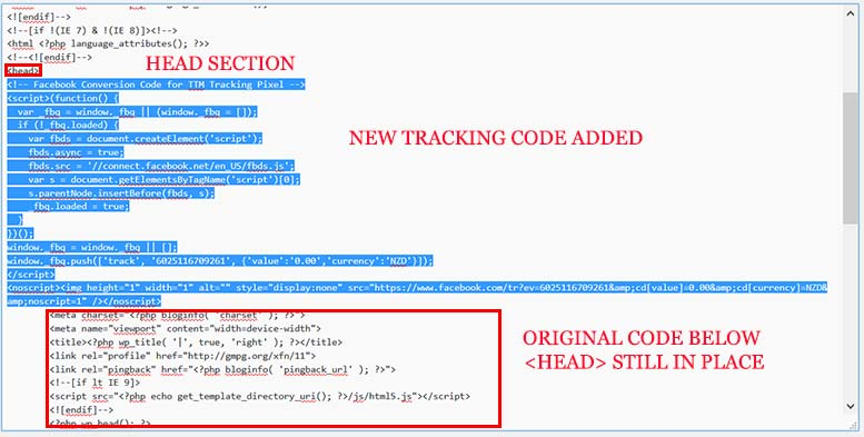 Be sure to see your remarketing pixel is in place, and then leave a line below it so your code doesnt mess up