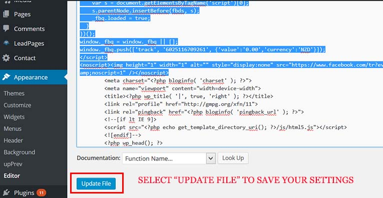 Update your theme header.php to save your new retargeting pixel