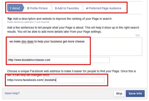Be sure to fill in your business page details to help new page visitors