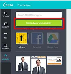 Upload your own images to create a custom facebook ad with the template