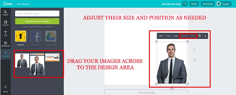 Move your images on the template to design your retargeting ad