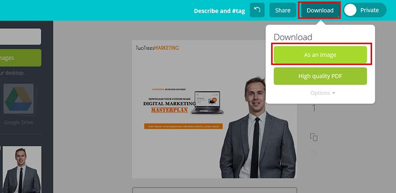 """Finish your ad design by selecting """"download as an image"""""""